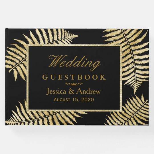 Elegant Faux Gold Leaf Bracken Wedding Guest Book