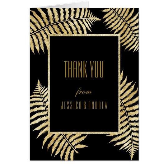 Elegant Faux Gold Leaf Bracken Wedding Thank You Card