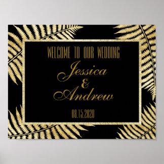 Elegant Faux Gold Leaf Bracken Wedding Welcome Poster