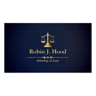 Elegant Faux Gold Libra Dark Blue Grid Lawyer Business Card