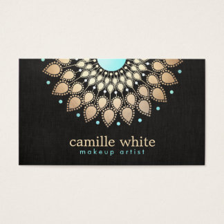 Elegant Faux Gold Lotus Flower Black Business Card