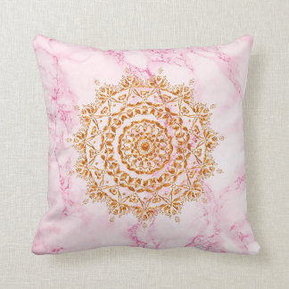 Elegant faux gold mandala on pink and white marble throw pillow