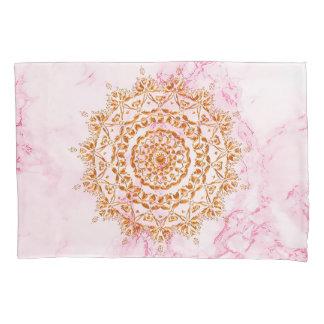 Elegant faux gold mandala on pink marble pillowcase