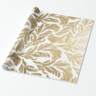 Elegant faux gold modern floral damask pattern wrapping paper