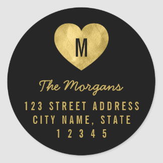 Elegant Faux Gold Monogram Heart Family Address Classic Round Sticker