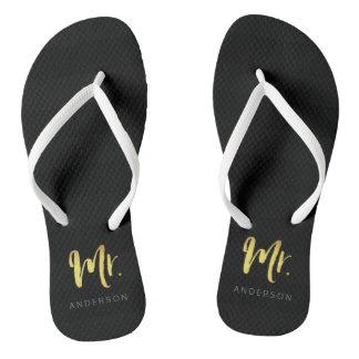 Elegant Faux Gold Name Mr Black Stripes Flip Flops