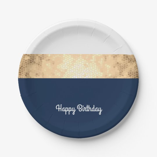 elegant faux gold, navy blue, white stripes 7 inch paper plate