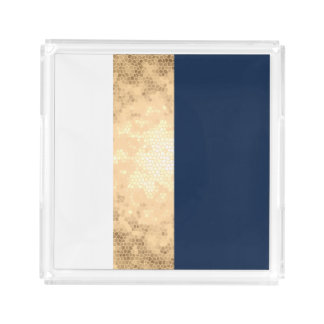 elegant faux gold, navy blue, white stripes acrylic tray