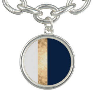 elegant faux gold, navy blue, white stripes bracelet