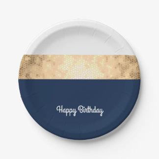 elegant faux gold, navy blue, white stripes paper plate