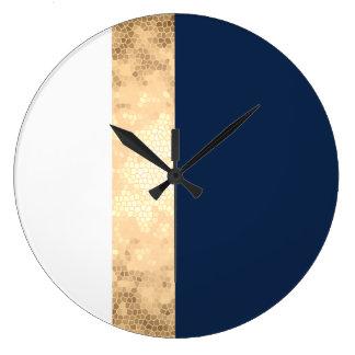 elegant faux gold, navy blue, white stripes wallclock