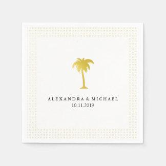 Elegant Faux Gold Palm Tree Wedding Paper Napkin