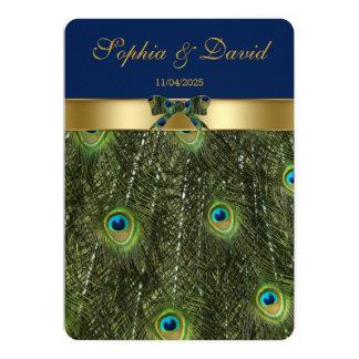 Elegant Faux Gold Peacock Wedding Monogram Card
