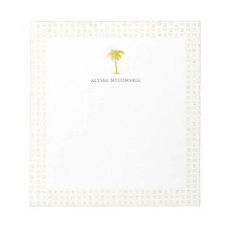 Elegant Faux Gold Pine Tree Notepad