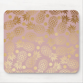 elegant faux gold pineapple pattern polka dots mouse pad