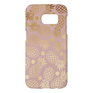 elegant faux gold pineapple pattern polka dots samsung galaxy s7 case