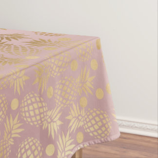 elegant faux gold pineapple pattern polka dots tablecloth