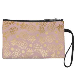 elegant faux gold pineapple pattern polka dots wristlet