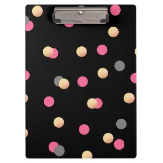 elegant faux gold pink grey confetti dots pattern clipboard