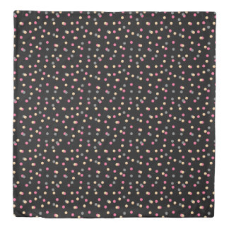 elegant faux gold pink grey confetti dots pattern duvet cover