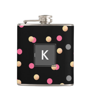 elegant faux gold pink grey confetti dots pattern hip flask