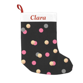 elegant faux gold pink grey confetti dots pattern small christmas stocking