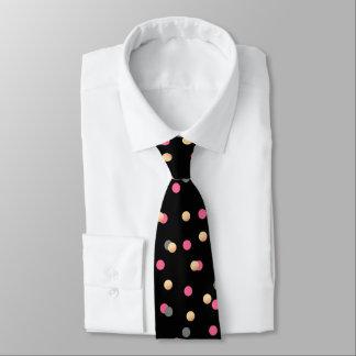 elegant faux gold pink grey confetti dots pattern tie