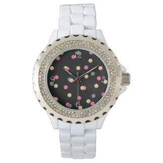 elegant faux gold pink grey confetti dots pattern watch