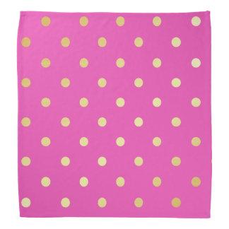 elegant faux gold pink polka dots bandana