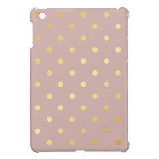 elegant faux gold pink polka dots iPad mini cover