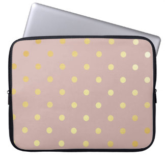 elegant faux gold pink polka dots laptop sleeve