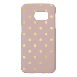 elegant faux gold pink polka dots samsung galaxy s7 case
