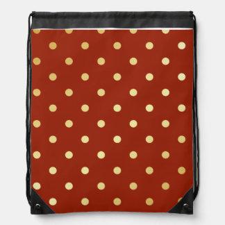 elegant faux gold red polka dots drawstring bag