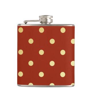 elegant faux  gold red polka dots hip flask