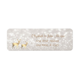 Elegant,Faux Gold Reindeer,Glittery Bokeh Return Address Label
