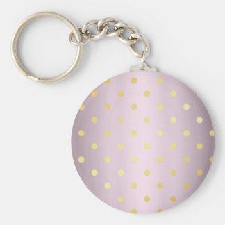 elegant faux gold rose gold polka dots keychain