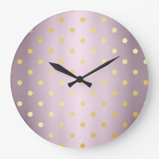 elegant faux gold rose gold polka dots large clock