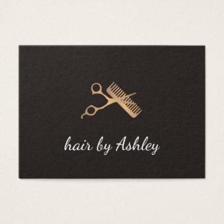 Elegant Faux Gold Scissors Comb Hair Stylist Business Card