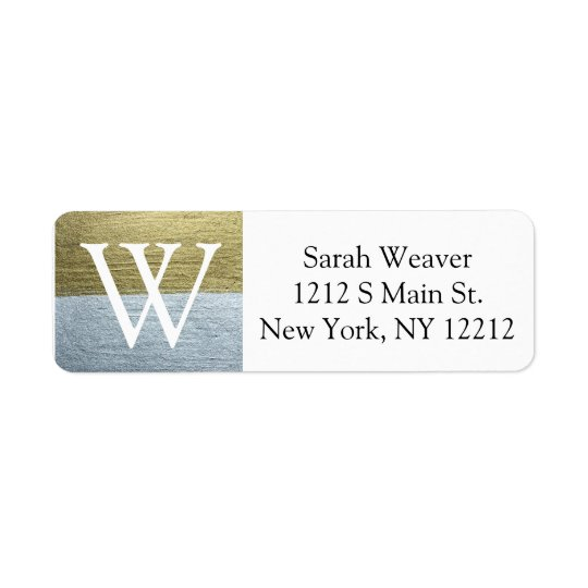 Elegant Faux Gold & Silver Monogram Address Labels