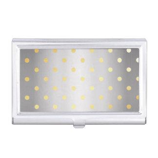 elegant faux gold silver polka dots business card holder
