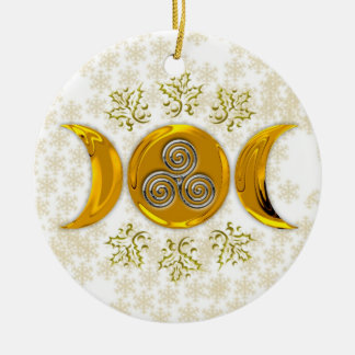 Elegant Faux Gold Triple Moon-Triple Silver Spiral Round Ceramic Ornament