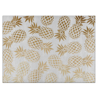 elegant faux gold tropical pineapple pattern cutting board