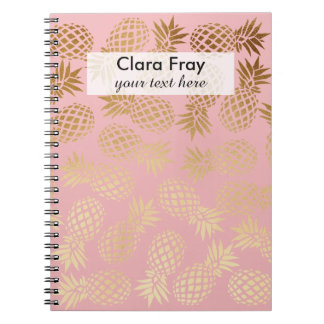 elegant faux gold tropical pineapple pattern notebooks