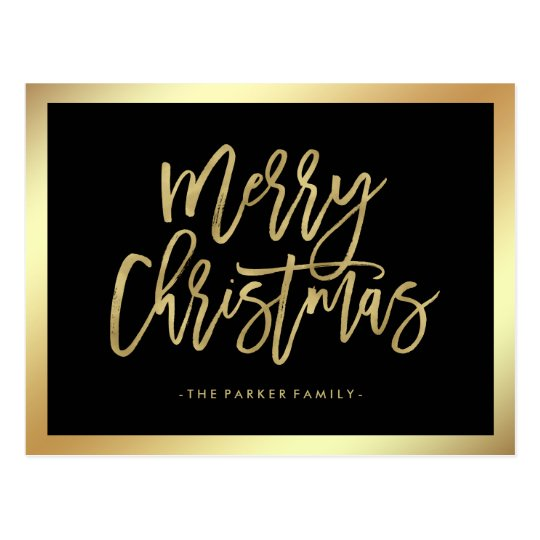 Elegant Faux Gold Typography | Merry Christmas Postcard