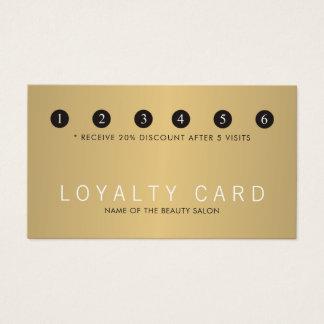 Elegant Faux Gold White Beauty Salon Loyalty Business Card