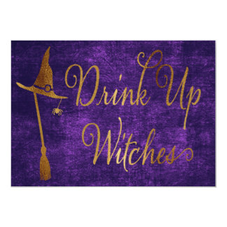 Elegant Faux Gold - Witches Halloween Card