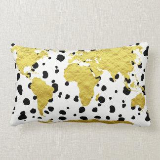Elegant Faux Gold World Map Dalmatian Print Lumbar Pillow
