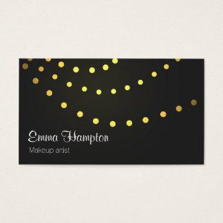Elegant faux golden light strings dots cards