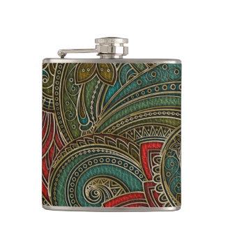 Elegant Faux  Leather  Oriental Floral design Hip Flask