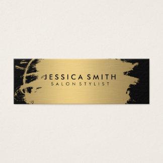 Elegant Faux Metallic Gold and Black Mini Business Card